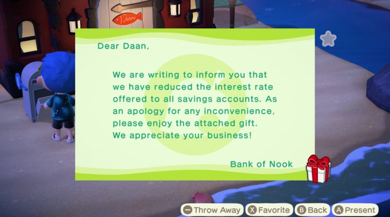 Animal Crossing: New Horizons - look at April update gifts, Bank of Nook lowered interest rates